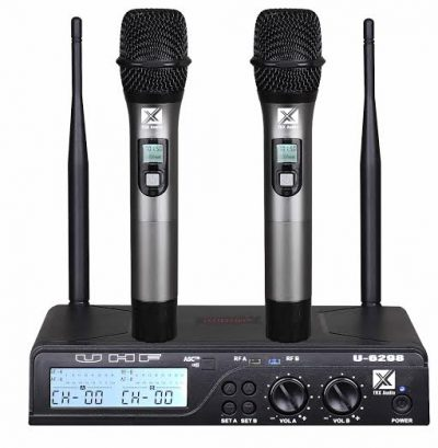 זוג מיקרופונים אלחוטיים מבית TRX Audio U-6988 עם תדר משתנה לבמה הגברה