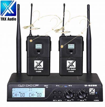 סט זוג מדונות אלחוטיות TRX Audio U-6298 עם תדר משתנה לבמה ציוד הגברה