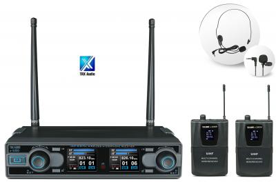 זוג מיקרופון מדונה אלחוטיים TRX Audio X5000 עם תדר משתנה לבמה הגברה