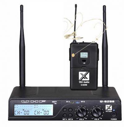 סט מיקרופון מדונה אלחוטית TRX Audio U-6098MH עם תדר משתנה לבמה הגברה