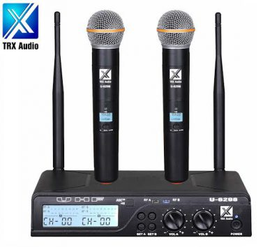 זוג מיקרופונים אלחוטיים TRX AUDIO U-6298 תדר משתנה לבמה ציוד הגברה