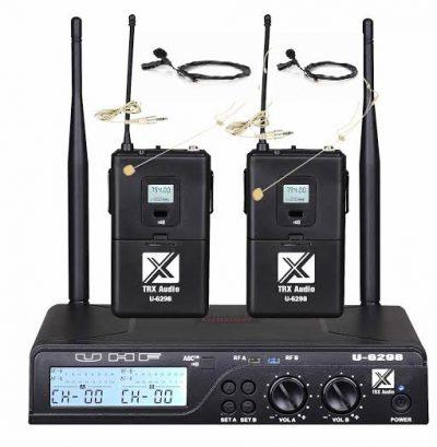 זוג מיקרופון אלחוטי דש - TRX AUDIO U-6298 תדר משתנה לבמה ציוד הגברה