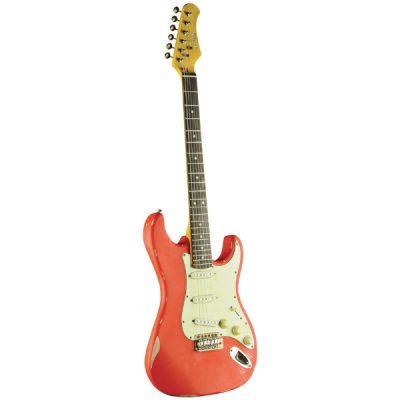 גיטרה חשמלית EKO – S-300 Relic Fiesta Red לבמה כלי נגינה