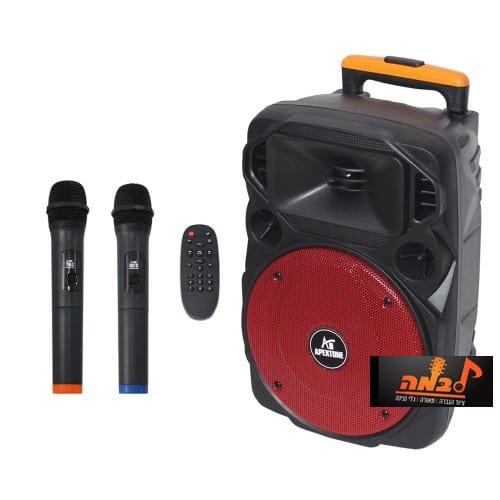 """בידורית 12"""" + מיקרופונים אלחוטיים Apextone AP12-100 לבמה ציוד הגברה"""