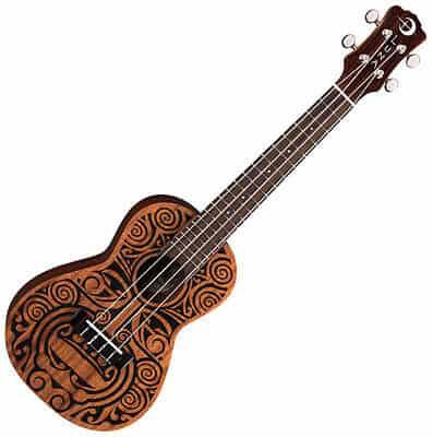 יוקללה קונצרט עם עיטורים שבטיים Luna Guitars Tribal Mahogany - לבמה ציוד הגברה ותאורה